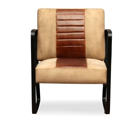 vidaXL Loungefåtölj äkta getskinn och kanvas brun[2/8]