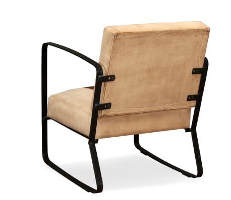 acheter vidaxl chaise de salon cuir v ritable et toile marron pas cher. Black Bedroom Furniture Sets. Home Design Ideas