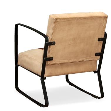 vidaXL Loungefåtölj äkta getskinn och kanvas brun[3/8]