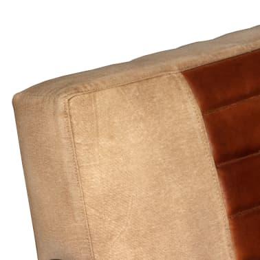vidaXL Loungefåtölj äkta getskinn och kanvas brun[6/8]