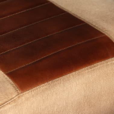vidaXL Loungefåtölj äkta getskinn och kanvas brun[7/8]