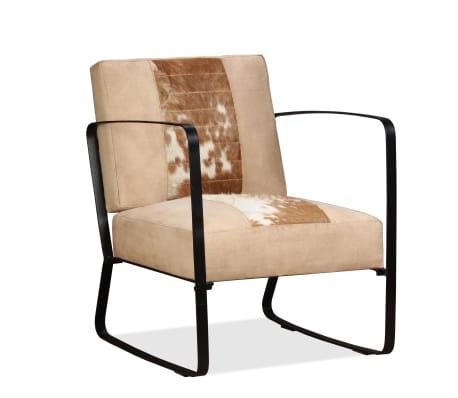 vidaXL atpūtas krēsls, krēmkrāsas dabīgā kazas āda un audekls