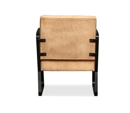 acheter vidaxl fauteuil peau de ch vre v ritable et toile couleur cr me pas cher. Black Bedroom Furniture Sets. Home Design Ideas