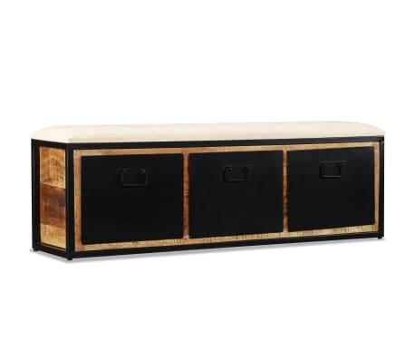 vidaXL Förvaringsbänk med 3 lådor massivt mangoträ 120x30x40 cm
