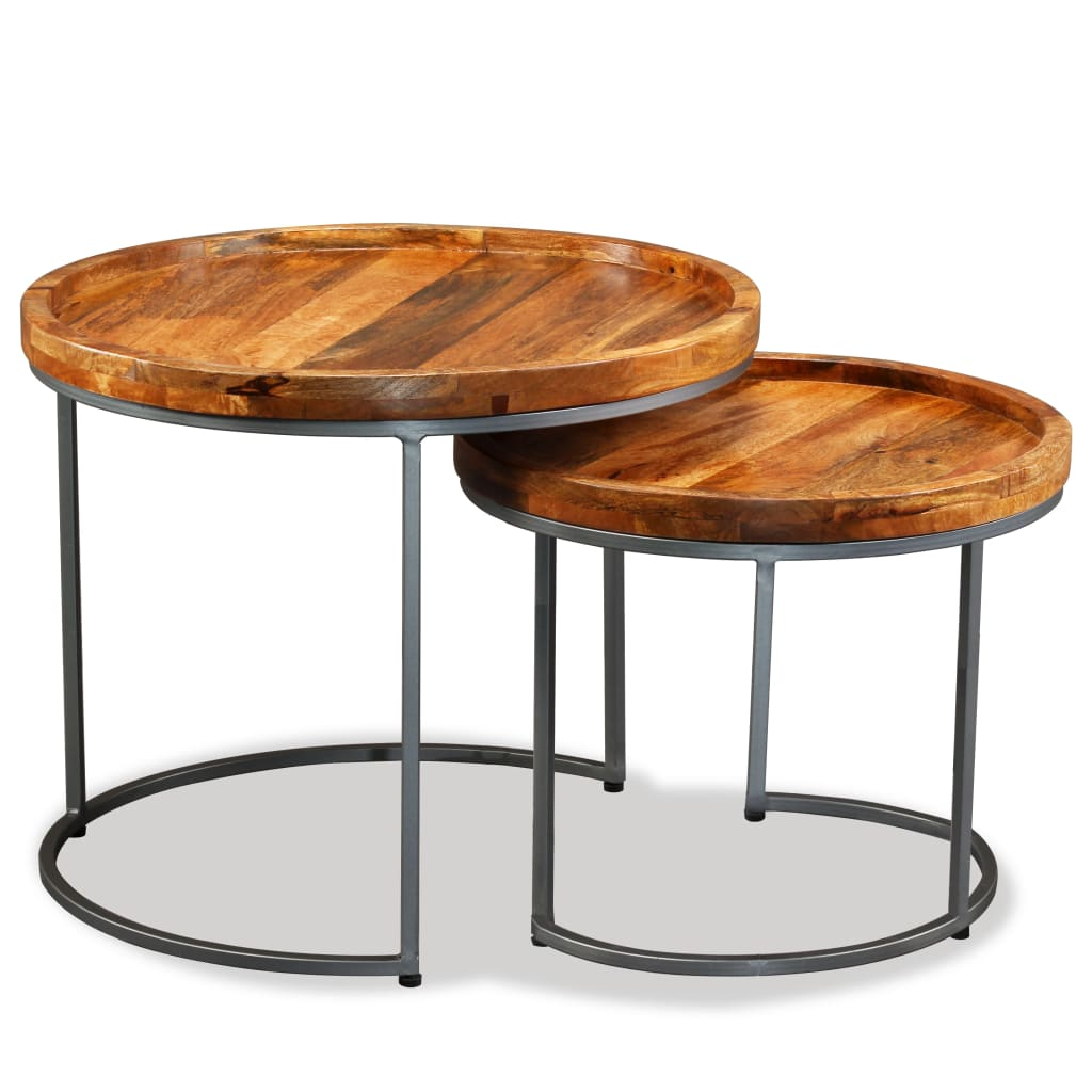 These industrial-style wooden side tables exude a vintage charm and will make a timeless addition to your home. These side tables can also be used as a coffee table or end table.