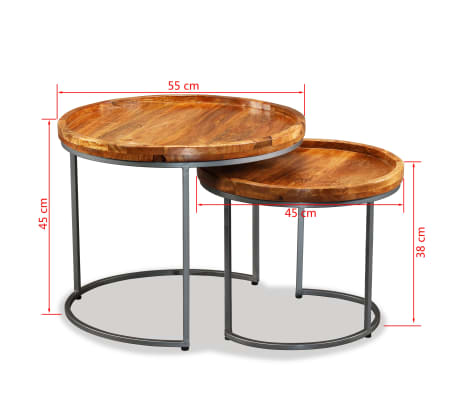 vidaXL Side Table Set 2 Pieces Solid Mango Wood[9/9]