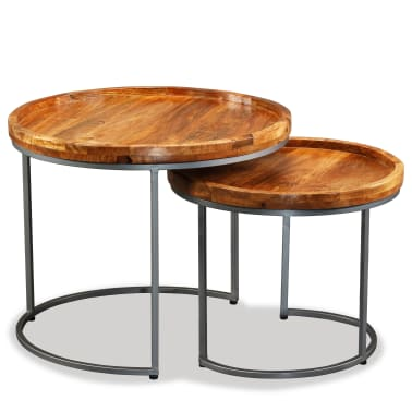 vidaXL Side Table Set 2 Pieces Solid Mango Wood[5/9]