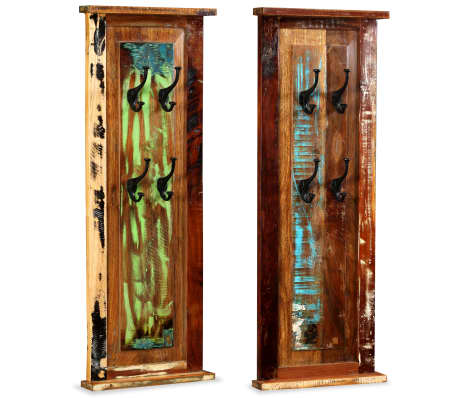 "vidaXL Coat Racks 2 pcs Solid Reclaimed Wood 15""x39.4"""