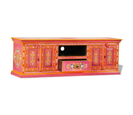 vidaXL TV staliukas, masyvi mango mediena, rožinė sp., rankomis dažyta[2/14]