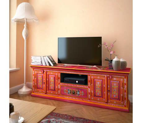 vidaXL TV staliukas, masyvi mango mediena, rožinė sp., rankomis dažyta[13/14]