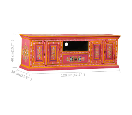 vidaXL TV staliukas, masyvi mango mediena, rožinė sp., rankomis dažyta[14/14]