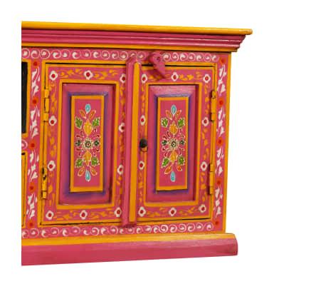 vidaXL TV staliukas, masyvi mango mediena, rožinė sp., rankomis dažyta[5/14]