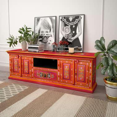 vidaXL TV staliukas, masyvi mango mediena, rožinė sp., rankomis dažyta[12/14]