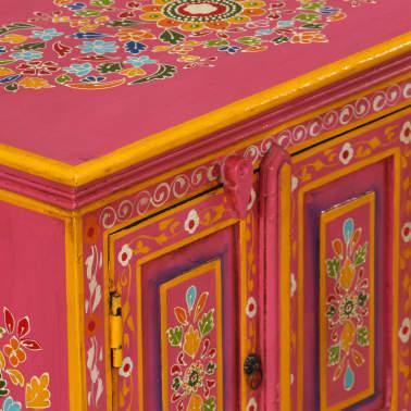 vidaxl tv schrank mangoholz massiv rosa handbemalt im vidaxl trendshop. Black Bedroom Furniture Sets. Home Design Ideas