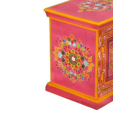 vidaXL TV staliukas, masyvi mango mediena, rožinė sp., rankomis dažyta[8/14]