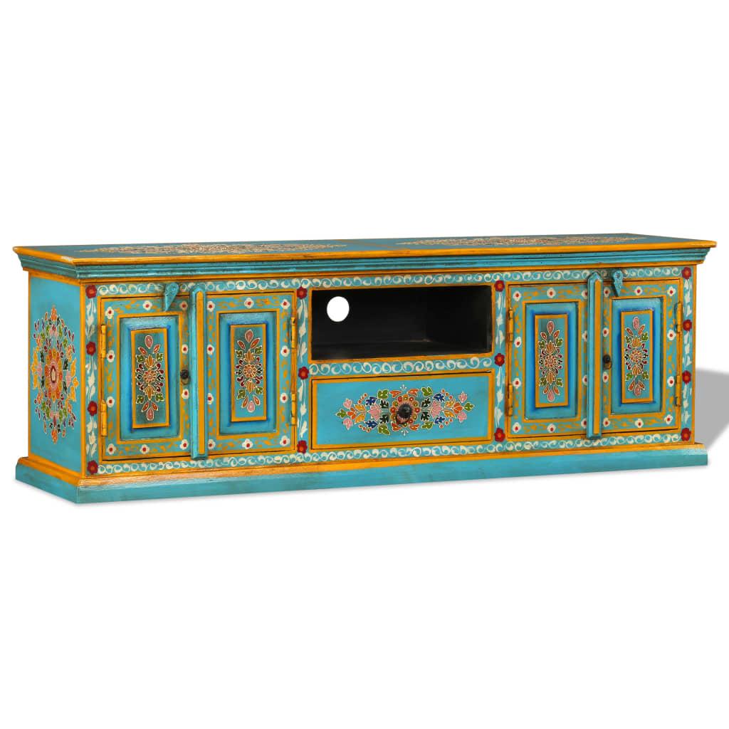 Jedyna w swoim rodzaju szafka na telewizor doda nieco koloru do Twojego salonu lub sypialni. Ta niezwykła, przyciągająca wzrok, ręcznie malowana szafka z pewnością stanie się tematem rozmów Twoich gości.