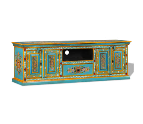 vidaXL TV Cabinet Solid Mango Wood Blue Hand Painted