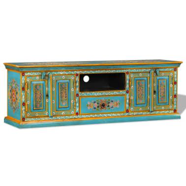 acheter vidaxl meuble tv bois de manguier massif bleu peint la main pas cher. Black Bedroom Furniture Sets. Home Design Ideas