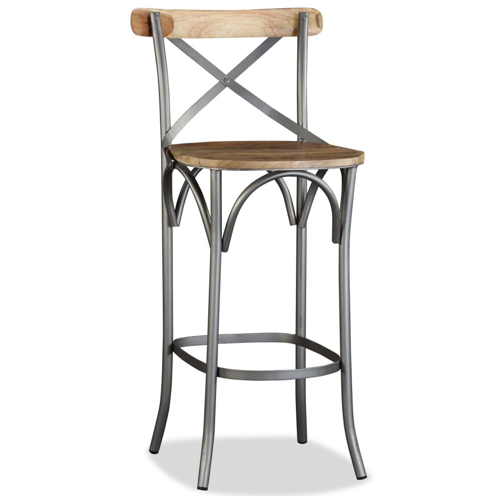 vidaXL Barová stolička s křížovým opěradlem, mangovníkový masiv