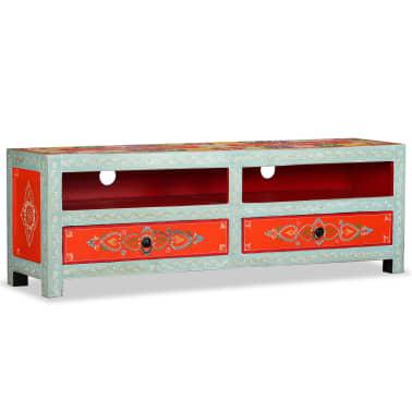 vidaxl meuble tv bois de manguier massif peint la main17