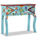 vidaXL Table console Bois de manguier massif Bleu peint à la main