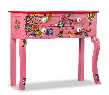 vidaXL Odkládací stolek, masivní mangovník, ručně malovaný, růžový