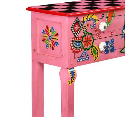 vidaXL Table console Bois de manguier massif Rose Peint à la main[4/7]