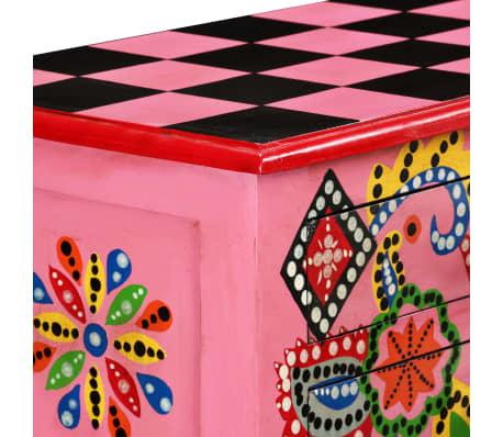 vidaXL Table console Bois de manguier massif Rose Peint à la main[6/7]