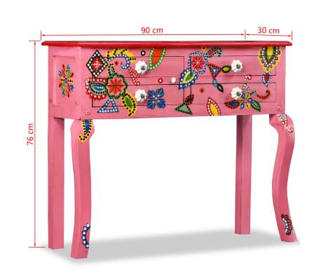 vidaXL Table console Bois de manguier massif Rose Peint à la main[7/7]