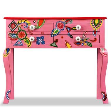 vidaXL Table console Bois de manguier massif Rose Peint à la main[3/7]