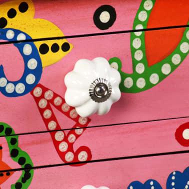 vidaXL Table console Bois de manguier massif Rose Peint à la main[5/7]