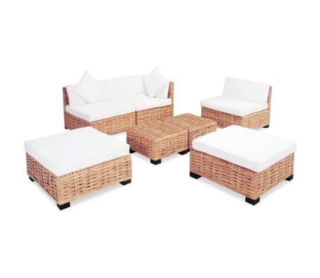 vidaXL Sofa Set 18 kom Prirodni Ratan[3/10]