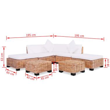 vidaXL Sofa Set 18 kom Prirodni Ratan[10/10]