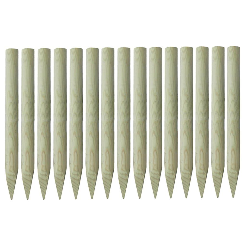 Špičaté plotové sloupky 15 ks impregnovaná borovice 4 x 100 cm