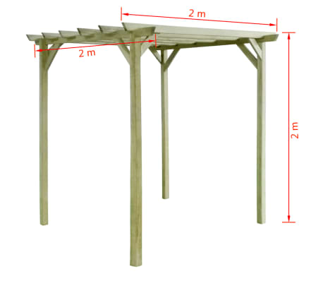 vidaXL Pergolă de grădină, 2 x 2 x 2 m, lemn de pin tratat[3/3]