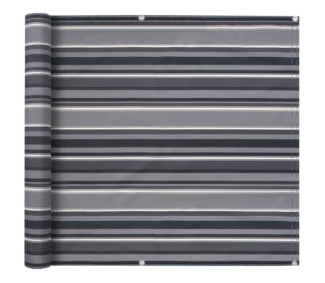 vidaXL Balcony Screen Oxford Fabric 75x600 cm Stripe Grey