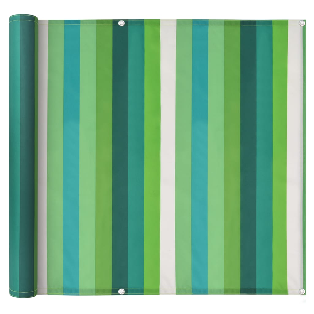 vidaXL Διαχωριστικό Βεράντας Ριγέ Πράσινο 75x600 εκ. Ύφασμα Oxford
