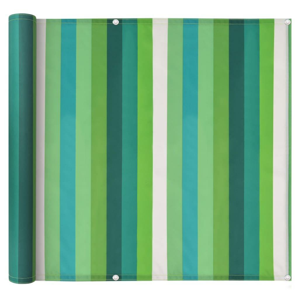 vidaXL Διαχωριστικό Βεράντας Ριγέ Πράσινο 90x600 εκ. Ύφασμα Oxford