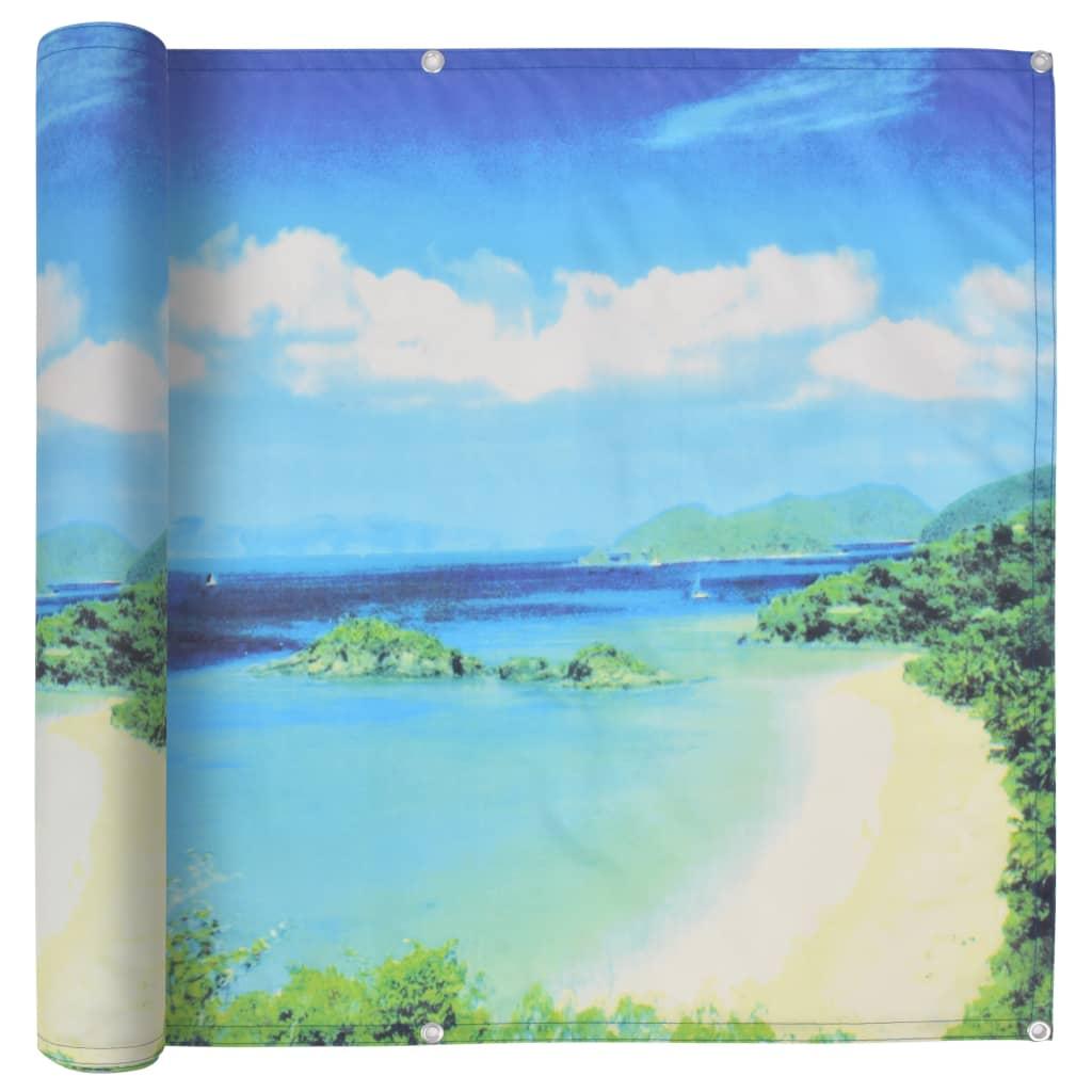 vidaXL Διαχωριστικό Βεράντας Τοπίο Λίμνης 75 x 400 εκ. Ύφασμα Oxford