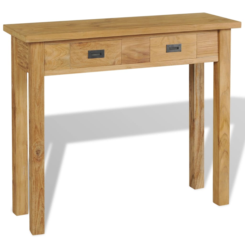vidaXL Stolik-konsola, lite drewno tekowe, 90 x 30 x 80 cm