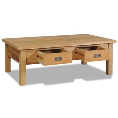 vidaXL Kavos staliukas, masyvi tikmedžio mediena, 100x60x35cm[3/7]