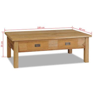 vidaXL Kavos staliukas, masyvi tikmedžio mediena, 100x60x35cm[7/7]
