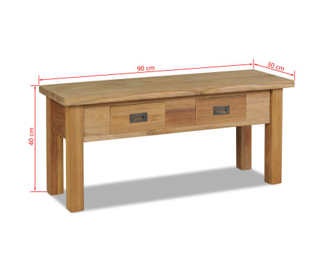 "vidaXL Hall Bench Solid Teak 35.4""x11.8""x15.7""[7/7]"