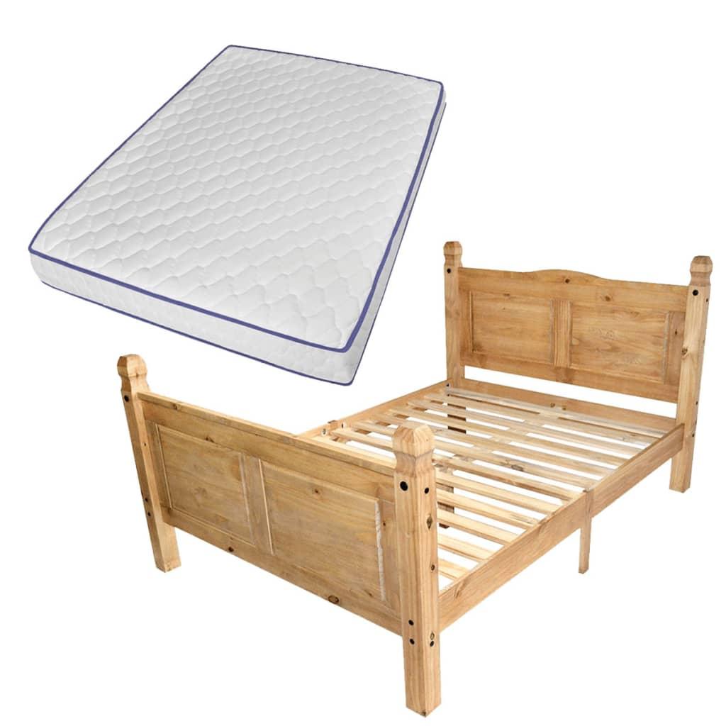 vidaXL Κρεβάτι Μεξικ. Στιλ Corona 140 x 200 εκ. Ξύλο Πεύκου με Στρώμα