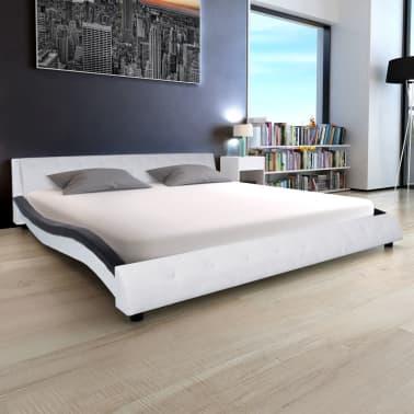 Bed Kopen Met Matras.Vidaxl Bed Met Matras Kunstleer 180x200 Cm Wit En Zwart Online Kopen