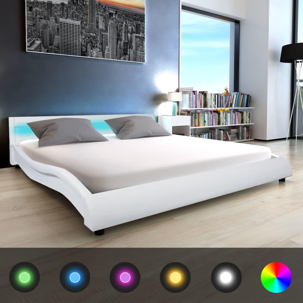 vidaXL Pat cu saltea și LED, alb, 180 x 200 cm, piele artificială vidaxl.ro
