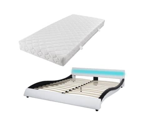 Met Bed Wit 180x200 Matras Vidaxl En Cm Kunstleer Zwart Led H9WI2DE