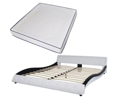vidaxl bett memory schaum matratze kunstleder 180 cm wei schwarz g nstig kaufen. Black Bedroom Furniture Sets. Home Design Ideas