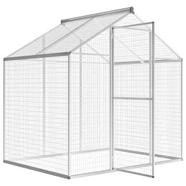 vidaXL putnu māja, aviārijs, 178x122x194 cm, alumīnijs[3/5]