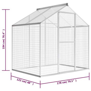 vidaXL putnu māja, aviārijs, 178x122x194 cm, alumīnijs[5/5]